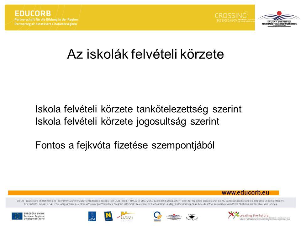 www.educorb.eu Az iskolák felvételi körzete Iskola felvételi körzete tankötelezettség szerint Iskola felvételi körzete jogosultság szerint Fontos a fe