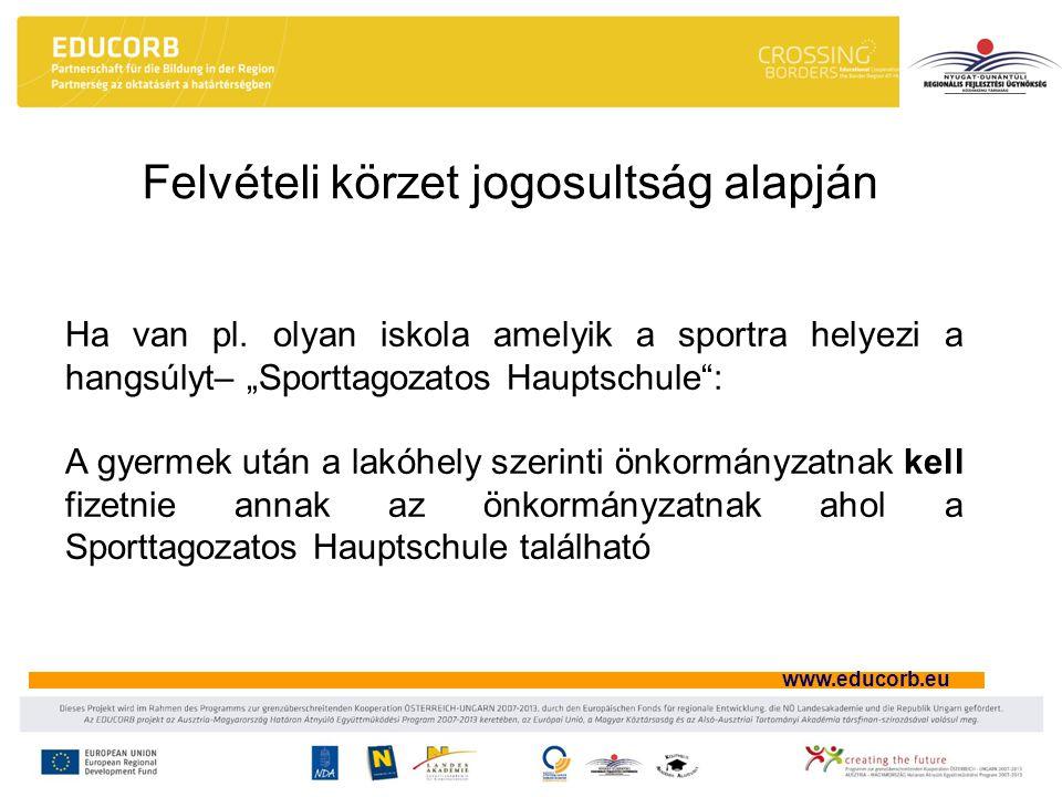 """www.educorb.eu Felvételi körzet jogosultság alapján Ha van pl. olyan iskola amelyik a sportra helyezi a hangsúlyt– """"Sporttagozatos Hauptschule"""": A gye"""