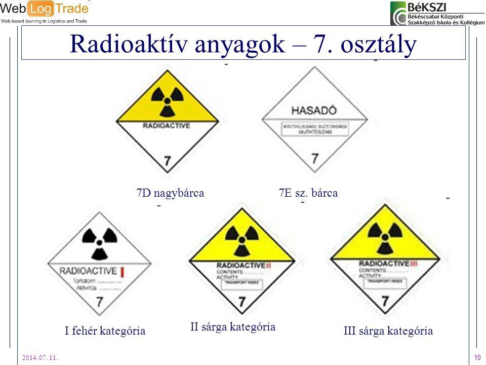 2014. 07. 11. 10 Radioaktív anyagok – 7. osztály I fehér kategória 7D nagybárca III sárga kategória II sárga kategória 7E sz. bárca