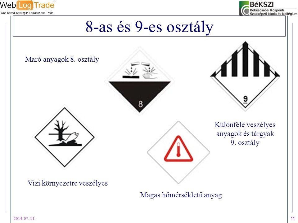 2014. 07. 11. 11 8-as és 9-es osztály Vizi környezetre veszélyes Különféle veszélyes anyagok és tárgyak 9. osztály Maró anyagok 8. osztály Magas hőmér