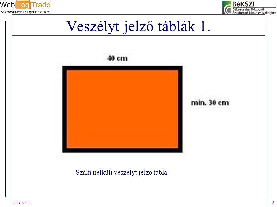 2014. 07. 11. 3 Veszélyt jelző táblák 2. Számmal rendelkező veszélyt jelző tábla
