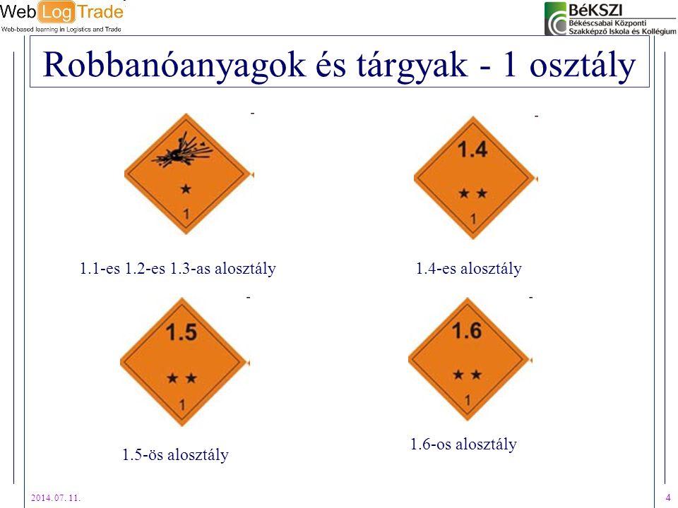 2014. 07. 11. 4 Robbanóanyagok és tárgyak - 1 osztály 1.1-es 1.2-es 1.3-as alosztály1.4-es alosztály 1.5-ös alosztály 1.6-os alosztály