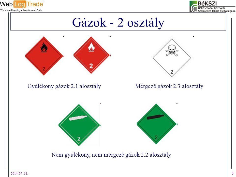 2014. 07. 11. 5 Gázok - 2 osztály Gyúlékony gázok 2.1 alosztály Nem gyúlékony, nem mérgező gázok 2.2 alosztály Mérgező gázok 2.3 alosztály