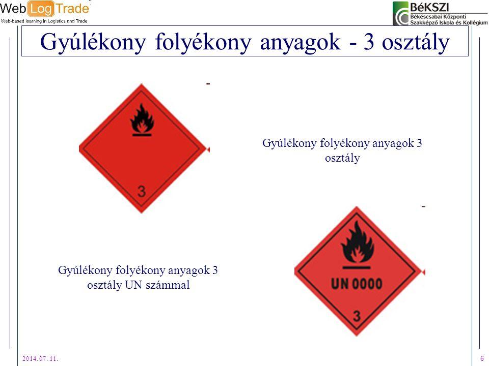 2014. 07. 11. 6 Gyúlékony folyékony anyagok - 3 osztály Gyúlékony folyékony anyagok 3 osztály UN számmal Gyúlékony folyékony anyagok 3 osztály