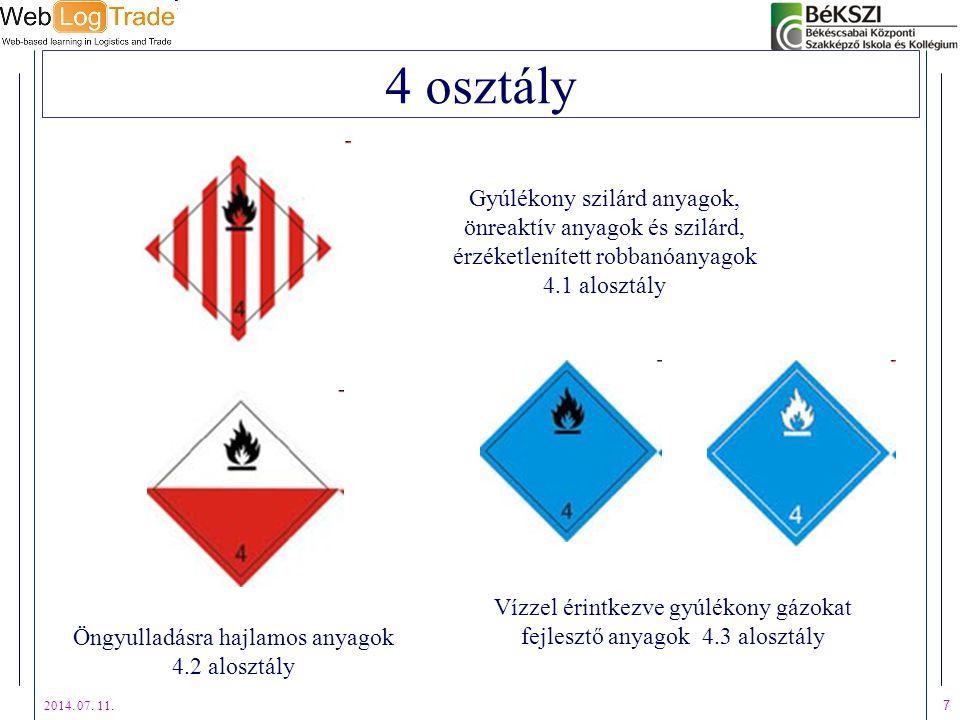 2014. 07. 11. 7 4 osztály Gyúlékony szilárd anyagok, önreaktív anyagok és szilárd, érzéketlenített robbanóanyagok 4.1 alosztály Öngyulladásra hajlamos