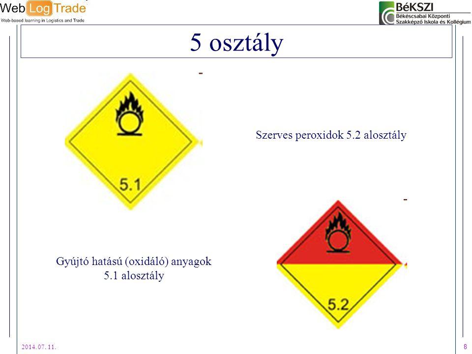 2014. 07. 11. 8 5 osztály Gyújtó hatású (oxidáló) anyagok 5.1 alosztály Szerves peroxidok 5.2 alosztály