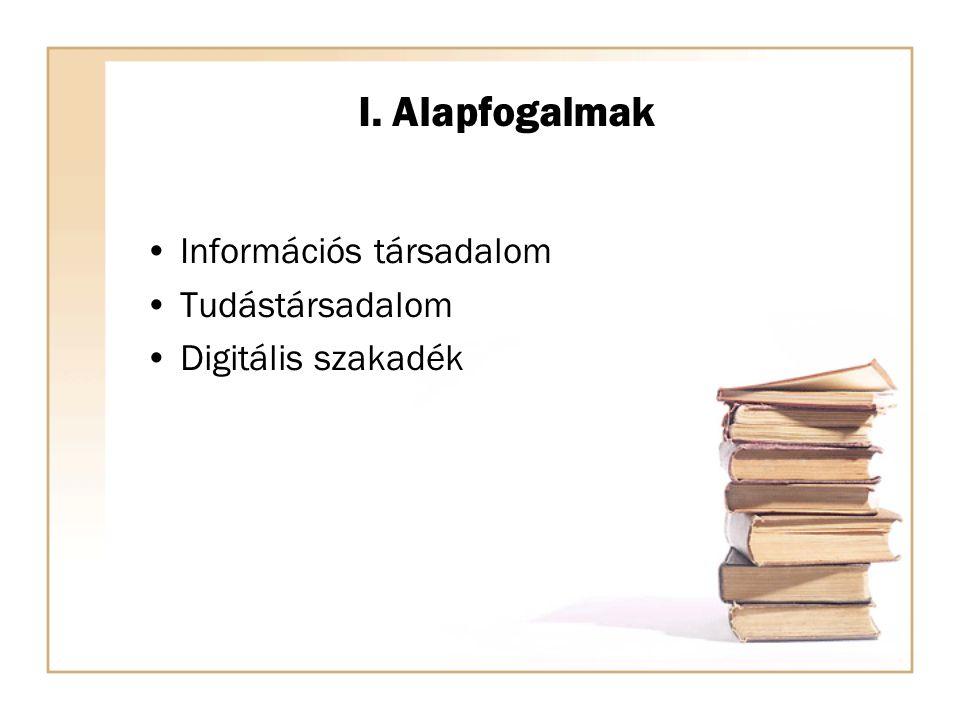 I. Alapfogalmak Információs társadalom Tudástársadalom Digitális szakadék