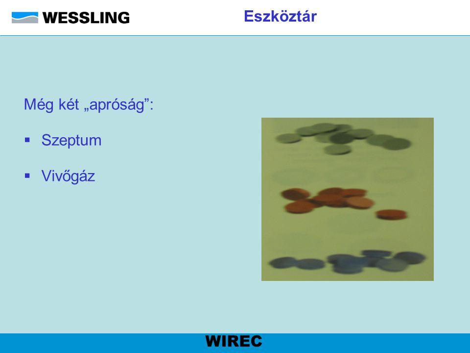 """Eszköztár Még két """"apróság"""":  Szeptum  Vivőgáz WIREC"""