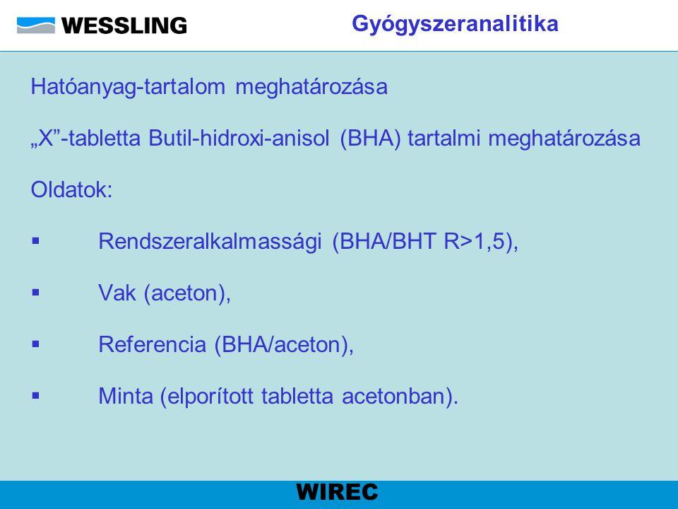 """Gyógyszeranalitika Hatóanyag-tartalom meghatározása """"X""""-tabletta Butil-hidroxi-anisol (BHA) tartalmi meghatározása Oldatok:  Rendszeralkalmassági (BH"""