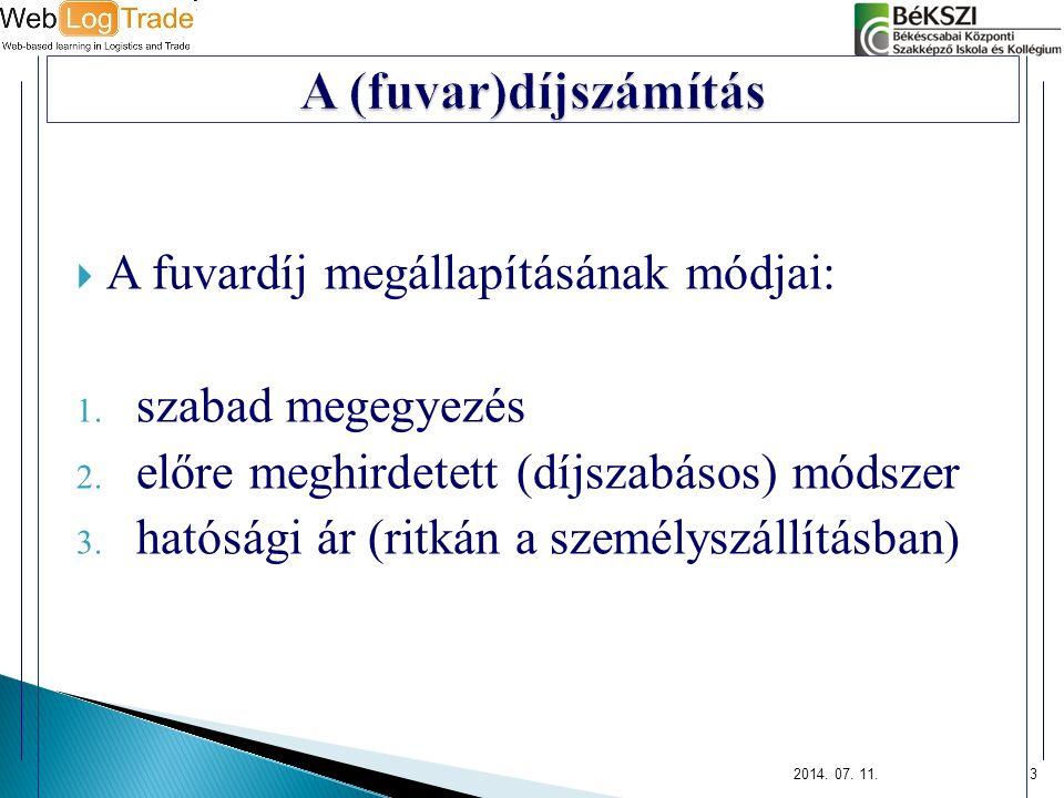 3  A fuvardíj megállapításának módjai: 1. szabad megegyezés 2. előre meghirdetett (díjszabásos) módszer 3. hatósági ár (ritkán a személyszállításban