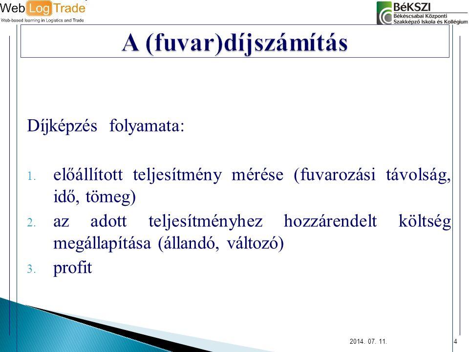  díjszámítási egység (de)  díjtétel (dt)  fuvardíj (fd)  minimális fuvardíj  minimális fuvarozási távolság  minimális tömeg  minimális fuvaridő 2014.