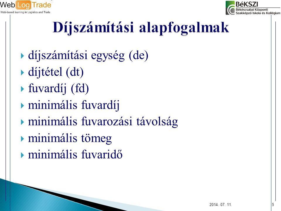  díjszámítási egység (de)  díjtétel (dt)  fuvardíj (fd)  minimális fuvardíj  minimális fuvarozási távolság  minimális tömeg  minimális fuvaridő