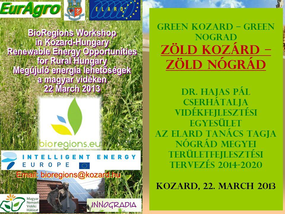 Green Kozard – Green Nograd Zöld Kozárd – Zöld Nógrád Dr. Hajas Pál Cserhátalja Vidékfejlesztési Egyesület Az ELARD Tanács tagja Nógrád megyei terület