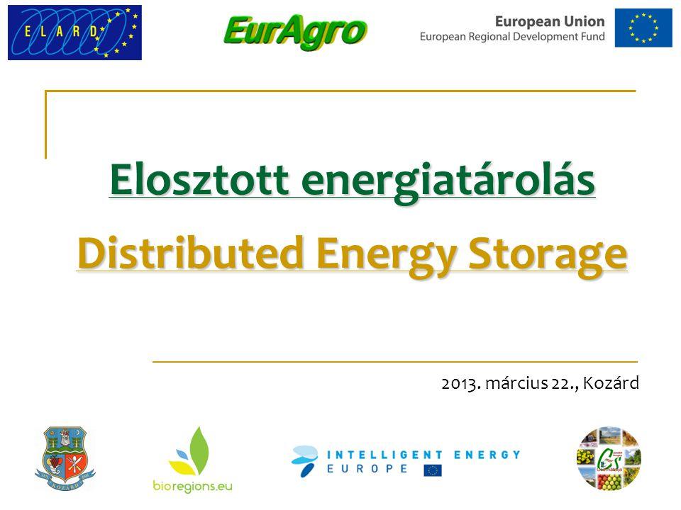 Elosztott energiatárolás Distributed Energy Storage 2013. március 22., Kozárd