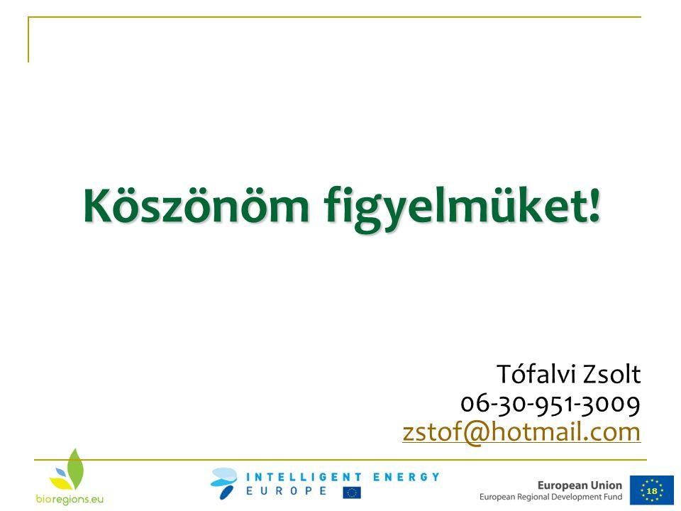 18 Köszönöm figyelmüket! Tófalvi Zsolt 06-30-951-3009 zstof@hotmail.com