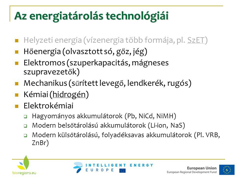 5 Az energiatárolás technológiái Helyzeti energia (vízenergia több formája, pl. SzET) H ő energia (olvasztott só, g ő z, jég) Elektromos (szuperkapaci