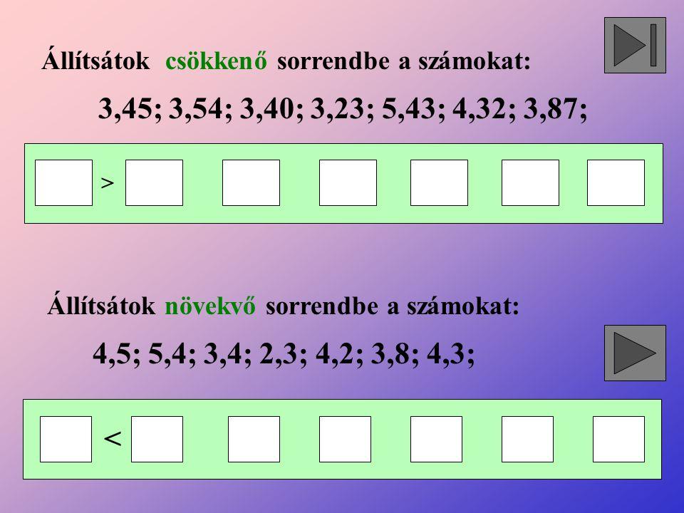 Állítsátok csökkenő sorrendbe a számokat: Állítsátok növekvő sorrendbe a számokat: 3,45; 3,54; 3,40; 3,23; 5,43; 4,32; 3,87; 4,5; 5,4; 3,4; 2,3; 4,2;