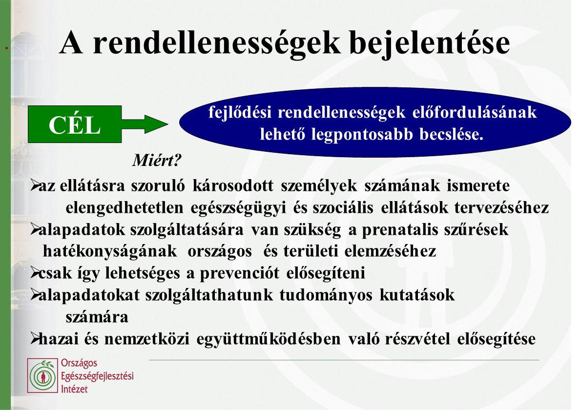 A veleszületett rendellenességek bejelentési szabálya Ki a bejelentő.
