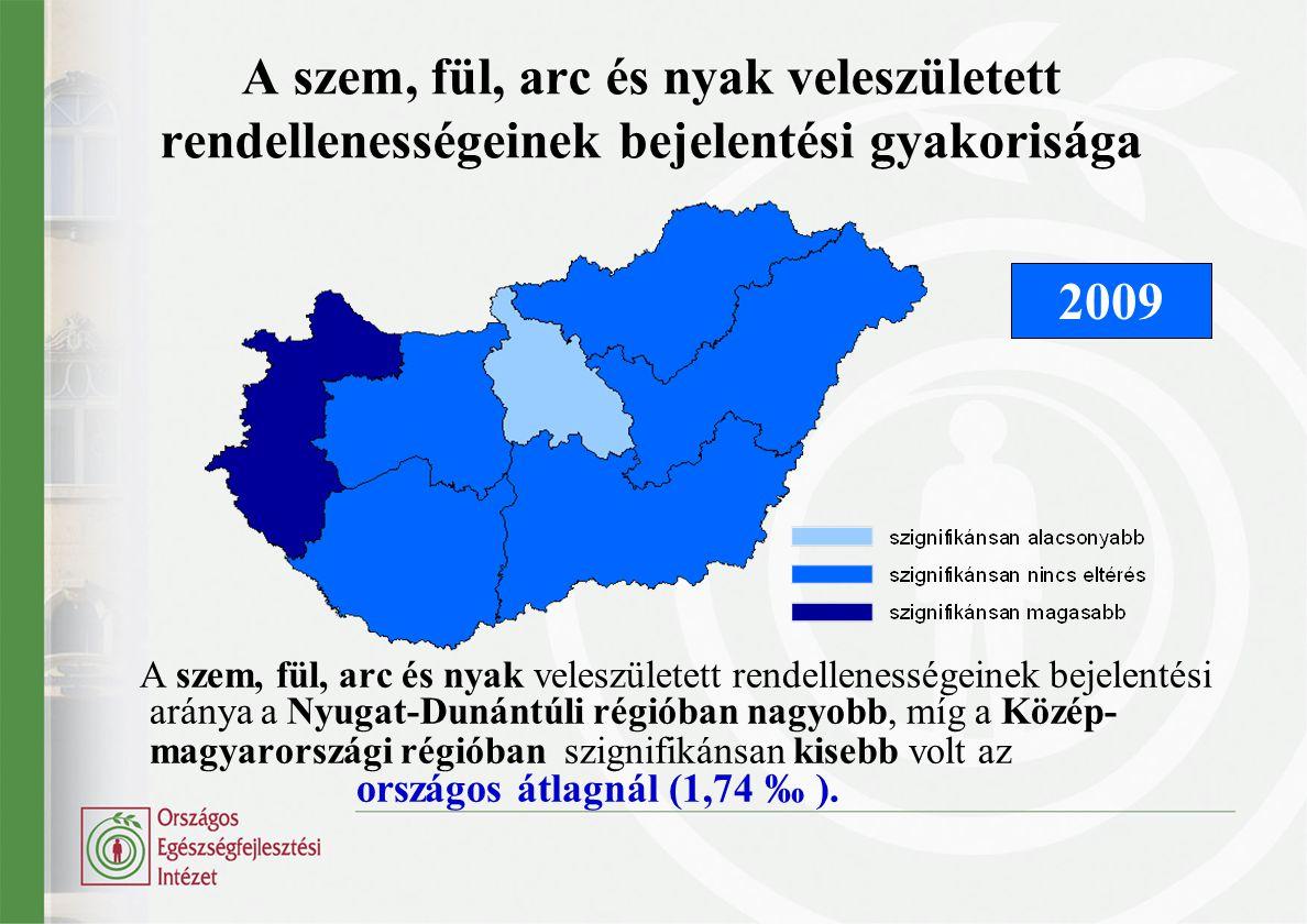 A keringési rendszer veleszületett rendellenességeinek bejelentési gyakorisága Országos átlag (9,47 ‰) felett jelentett Észak-Magyarország, Közép- Dunántúl és Dél-Alföld.