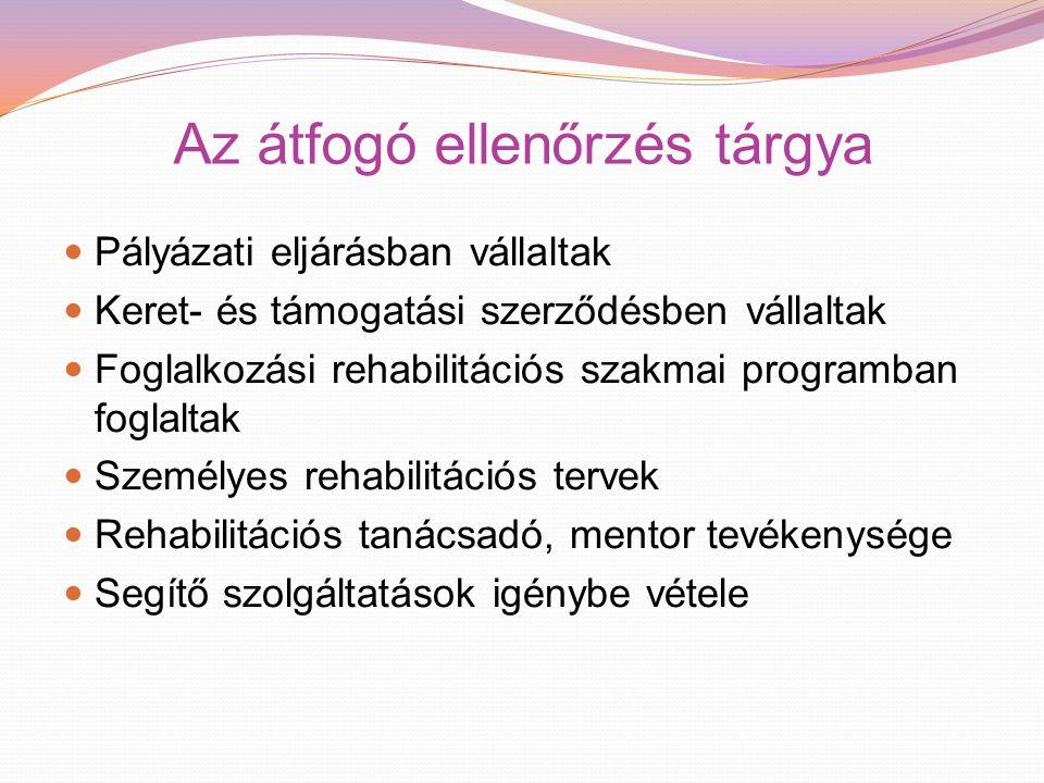 Az átfogó ellenőrzés tárgya Pályázati eljárásban vállaltak Keret- és támogatási szerződésben vállaltak Foglalkozási rehabilitációs szakmai programban