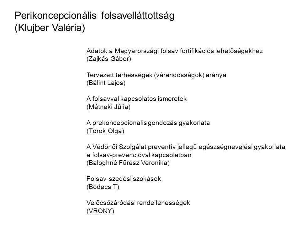 Adatok a Magyarországi folsav fortifikációs lehetőségekhez (Zajkás Gábor) Tervezett terhességek (várandósságok) aránya (Bálint Lajos) A folsavval kapc