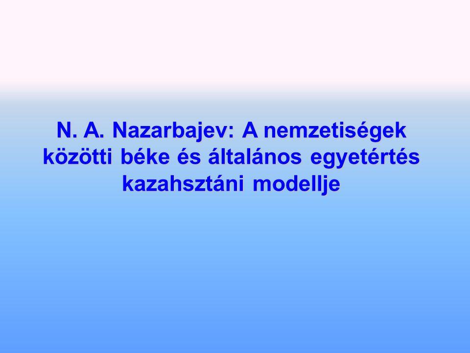 N. A. Nazarbajev: A nemzetiségek közötti béke és általános egyetértés kazahsztáni modellje