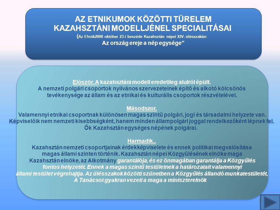 11 AZ ETNIKUMOK KÖZÖTTI TÜRELEM KAZAHSZTÁNI MODELLJÉNEL SPECIALITÁSAI ( Az Elnök2008 október 23-i beszéde Kazahsztán népei XIV.