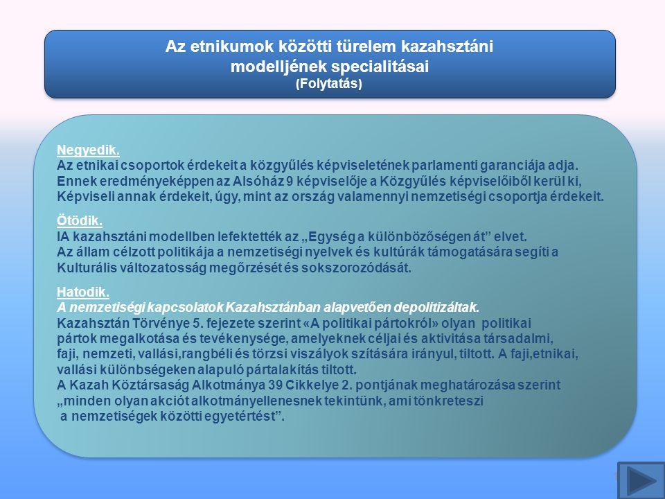 12 Az etnikumok közötti türelem kazahsztáni modelljének specialitásai ( Folytatás ) Az etnikumok közötti türelem kazahsztáni modelljének specialitásai ( Folytatás ) Negyedik.