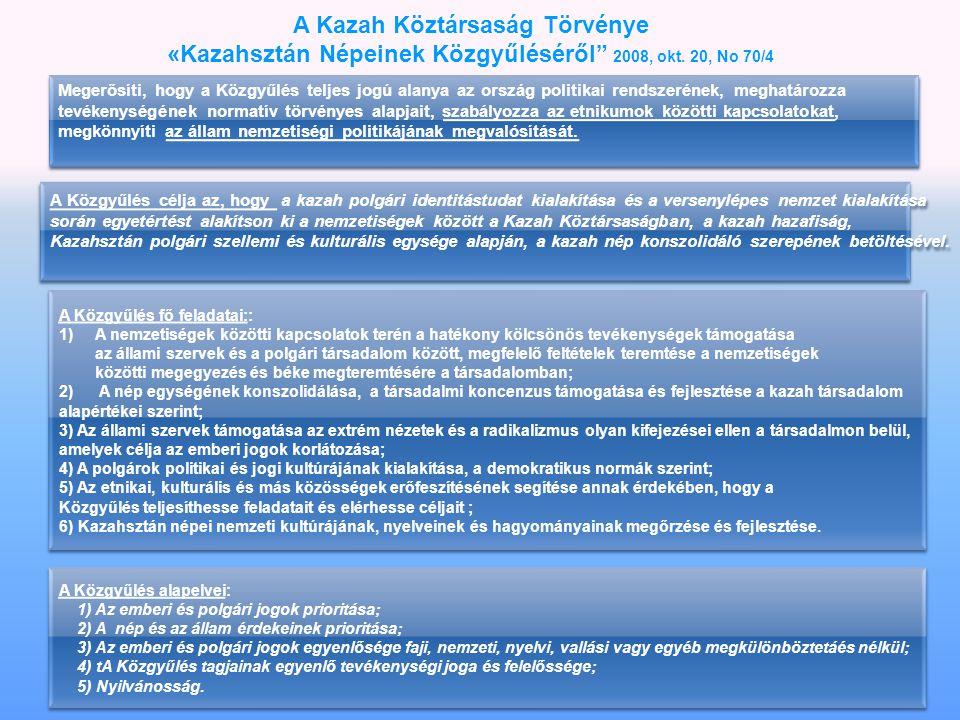 A Kazah Köztársaság Törvénye «Kazahsztán Népeinek Közgyűléséről 2008, okt.