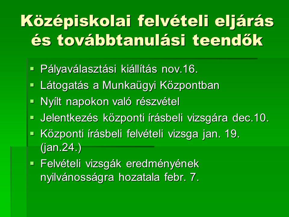 Középiskolai felvételi eljárás és továbbtanulási teendők  Pályaválasztási kiállítás nov.16.