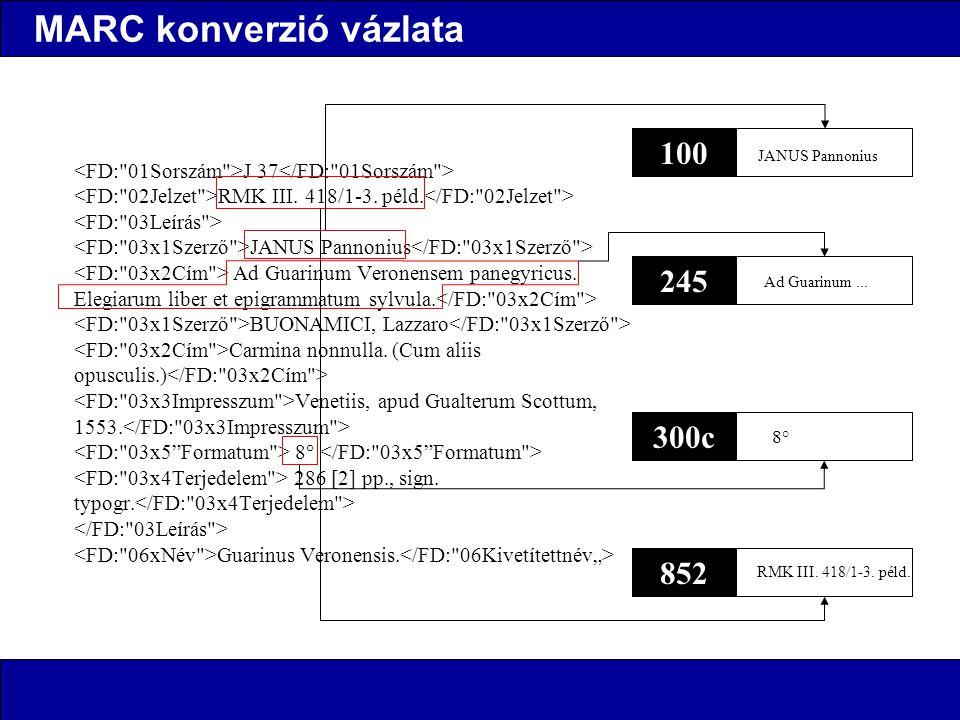 MARC konverzió vázlata J 37 RMK III. 418/1-3. péld.
