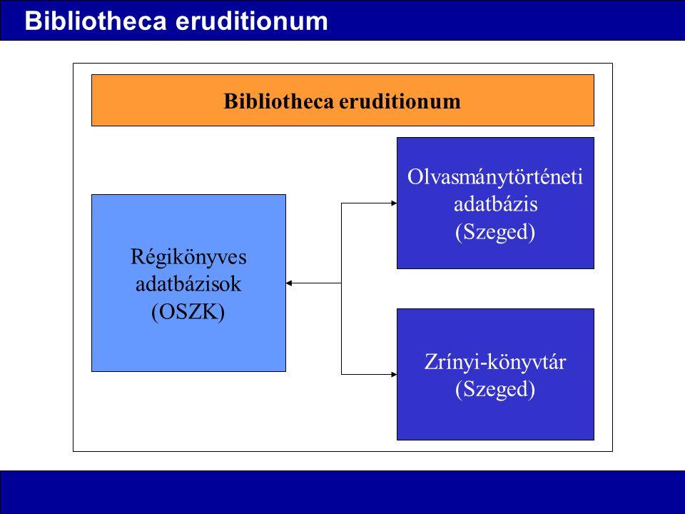 Bibliotheca eruditionum Régikönyves adatbázisok (OSZK) Olvasmánytörténeti adatbázis (Szeged) Zrínyi-könyvtár (Szeged) Bibliotheca eruditionum