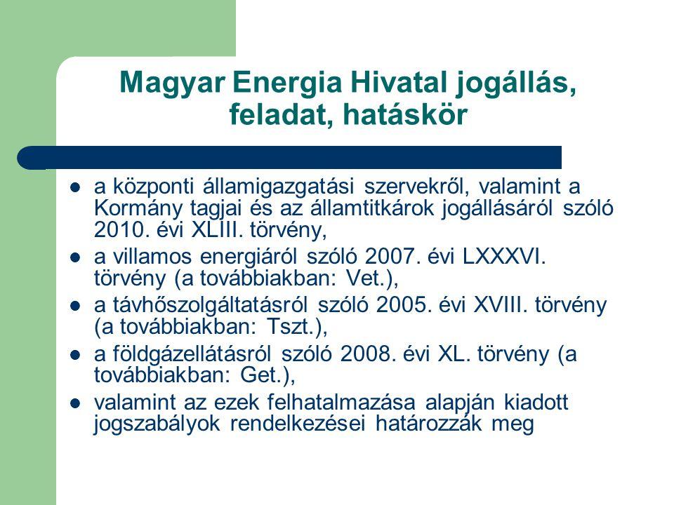 Magyar Energia Hivatal jogállás, feladat, hatáskör a központi államigazgatási szervekről, valamint a Kormány tagjai és az államtitkárok jogállásáról s
