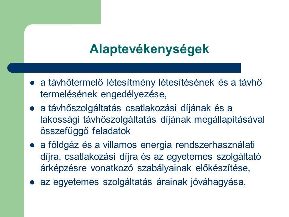 Alaptevékenységek a távhőtermelő létesítmény létesítésének és a távhő termelésének engedélyezése, a távhőszolgáltatás csatlakozási díjának és a lakossági távhőszolgáltatás díjának megállapításával összefüggő feladatok a földgáz és a villamos energia rendszerhasználati díjra, csatlakozási díjra és az egyetemes szolgáltató árképzésre vonatkozó szabályainak előkészítése, az egyetemes szolgáltatás árainak jóváhagyása,