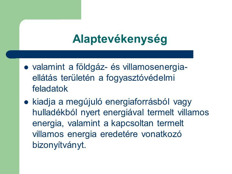 Alaptevékenység valamint a földgáz- és villamosenergia- ellátás területén a fogyasztóvédelmi feladatok kiadja a megújuló energiaforrásból vagy hulladé