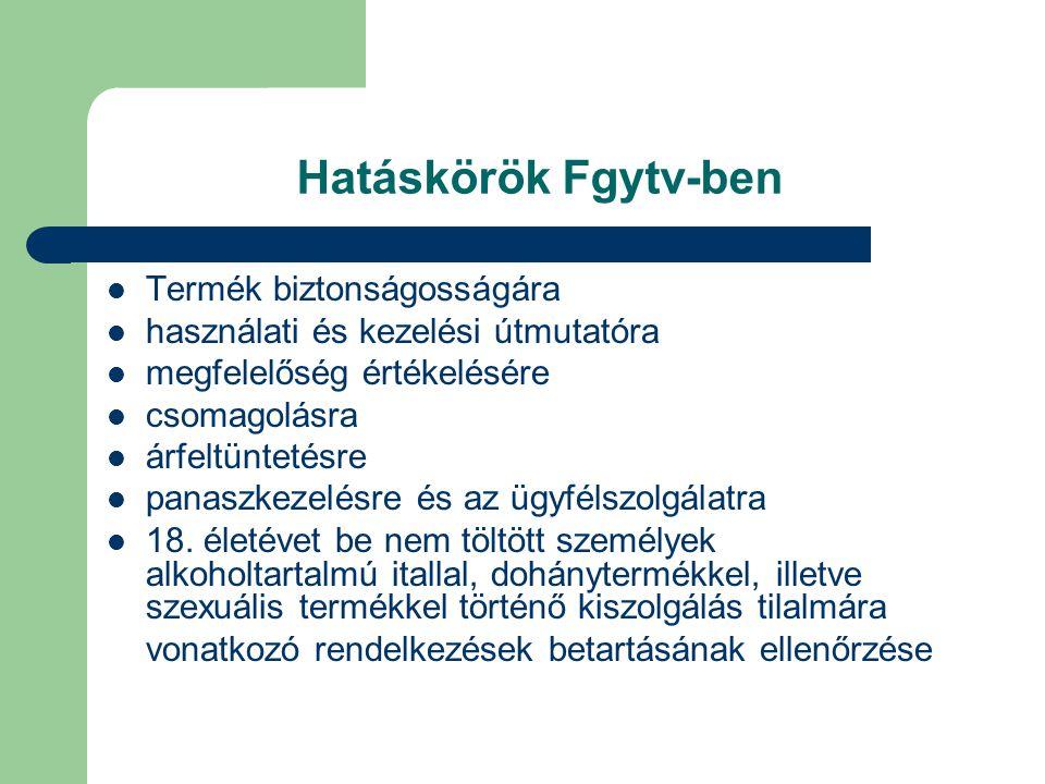 Hatáskörök Fgytv-ben Termék biztonságosságára használati és kezelési útmutatóra megfelelőség értékelésére csomagolásra árfeltüntetésre panaszkezelésre