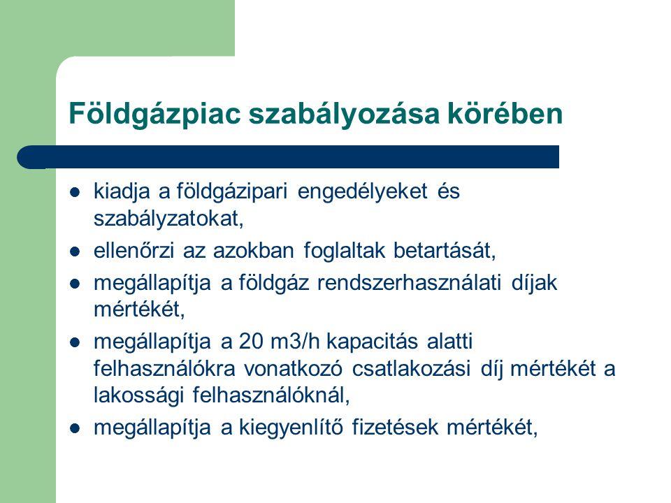 Földgázpiac szabályozása körében kiadja a földgázipari engedélyeket és szabályzatokat, ellenőrzi az azokban foglaltak betartását, megállapítja a földgáz rendszerhasználati díjak mértékét, megállapítja a 20 m3/h kapacitás alatti felhasználókra vonatkozó csatlakozási díj mértékét a lakossági felhasználóknál, megállapítja a kiegyenlítő fizetések mértékét,