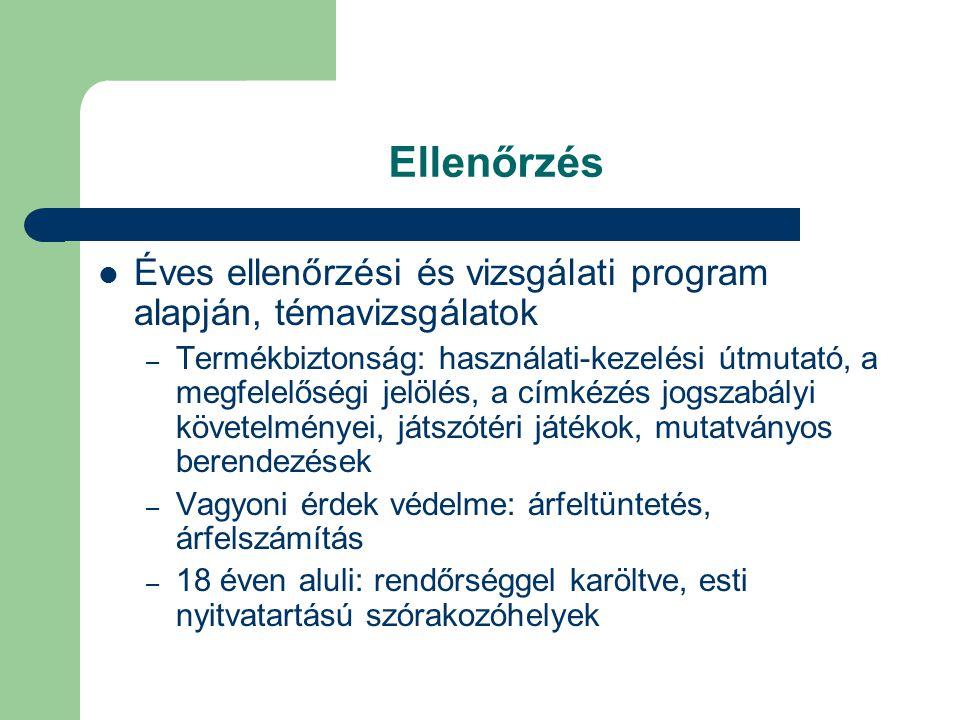 Ellenőrzés Éves ellenőrzési és vizsgálati program alapján, témavizsgálatok – Termékbiztonság: használati-kezelési útmutató, a megfelelőségi jelölés, a