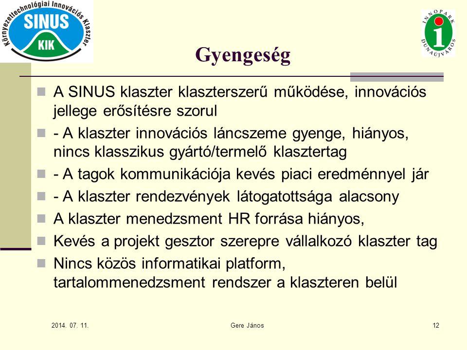 2014. 07. 11. Gere János12 Gyengeség A SINUS klaszter klaszterszerű működése, innovációs jellege erősítésre szorul - A klaszter innovációs láncszeme g