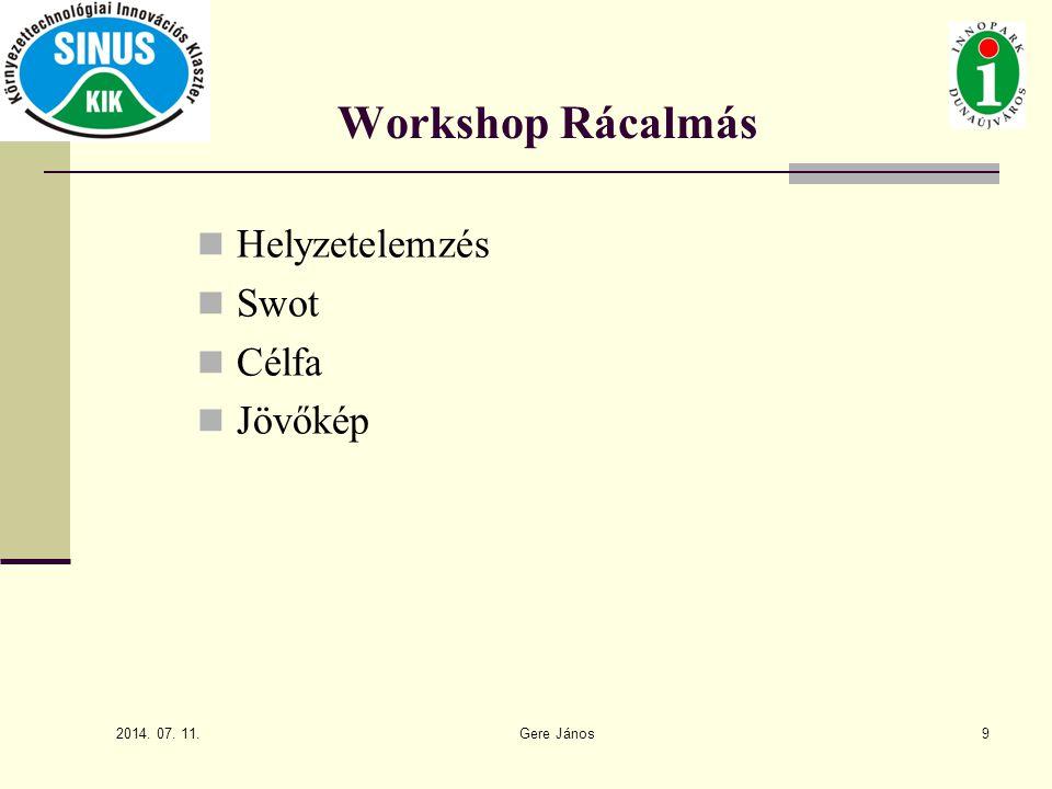 2014. 07. 11. Gere János9 Workshop Rácalmás Helyzetelemzés Swot Célfa Jövőkép
