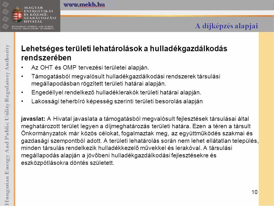 A díjképzés alapjai Lehetséges területi lehatárolások a hulladékgazdálkodás rendszerében Az OHT és OMP tervezési területei alapján. Támogatásból megva
