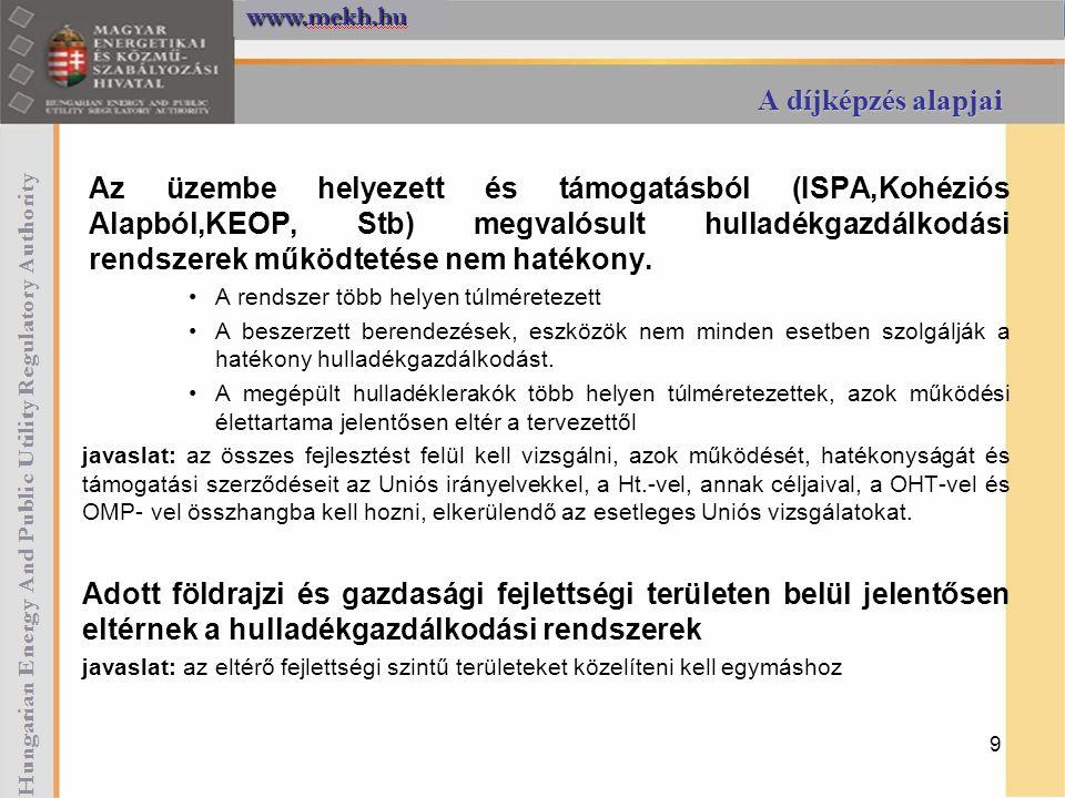 A díjképzés alapjai Az üzembe helyezett és támogatásból (ISPA,Kohéziós Alapból,KEOP, Stb) megvalósult hulladékgazdálkodási rendszerek működtetése nem