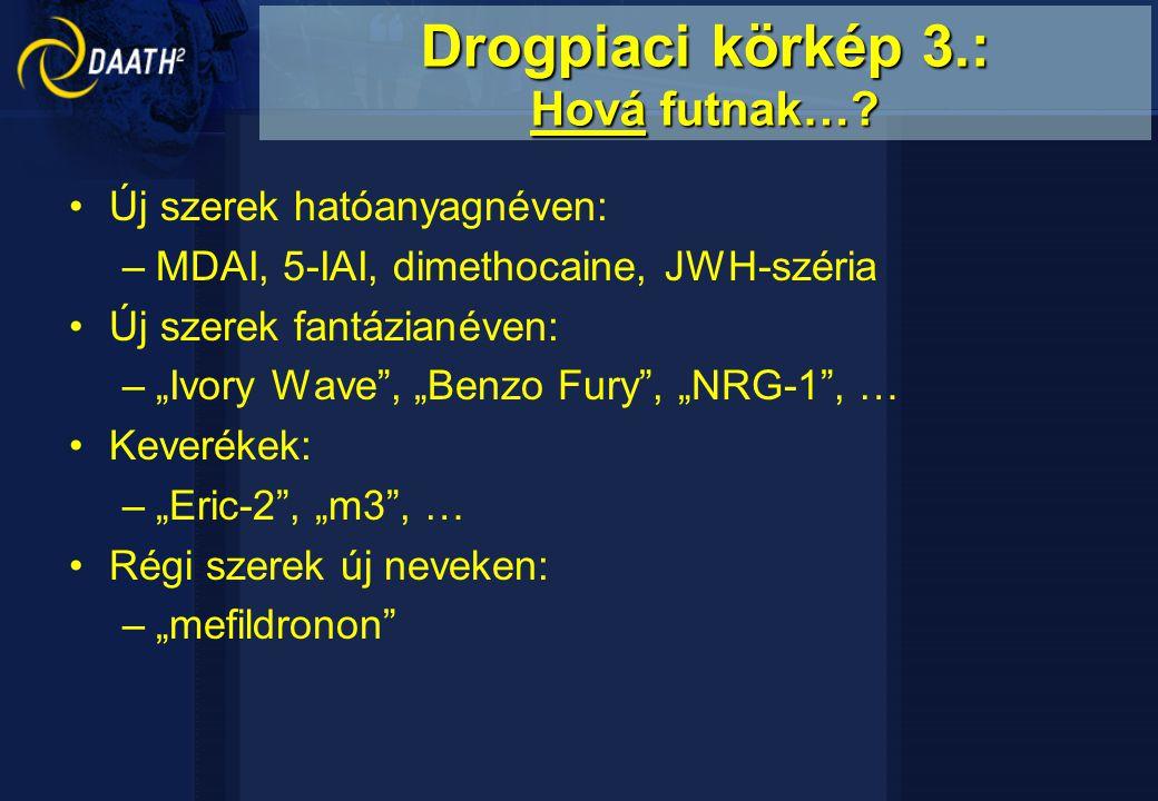 """Új szerek hatóanyagnéven: –MDAI, 5-IAI, dimethocaine, JWH-széria Új szerek fantázianéven: –""""Ivory Wave , """"Benzo Fury , """"NRG-1 , … Keverékek: –""""Eric-2 , """"m3 , … Régi szerek új neveken: –""""mefildronon Drogpiaci körkép 3.: Hová futnak…?"""
