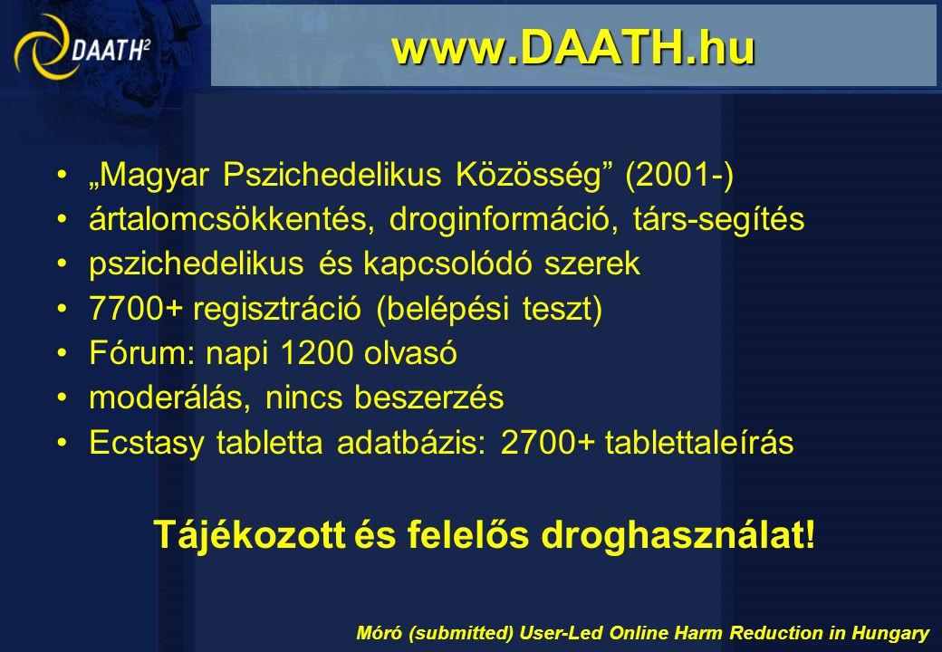 """""""Magyar Pszichedelikus Közösség (2001-) ártalomcsökkentés, droginformáció, társ-segítés pszichedelikus és kapcsolódó szerek 7700+ regisztráció (belépési teszt) Fórum: napi 1200 olvasó moderálás, nincs beszerzés Ecstasy tabletta adatbázis: 2700+ tablettaleírás Tájékozott és felelős droghasználat."""