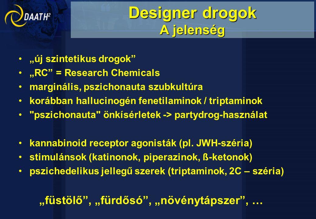 """""""új szintetikus drogok """"RC = Research Chemicals marginális, pszichonauta szubkultúra korábban hallucinogén fenetilaminok / triptaminok pszichonauta önkísérletek -> partydrog-használat kannabinoid receptor agonisták (pl."""