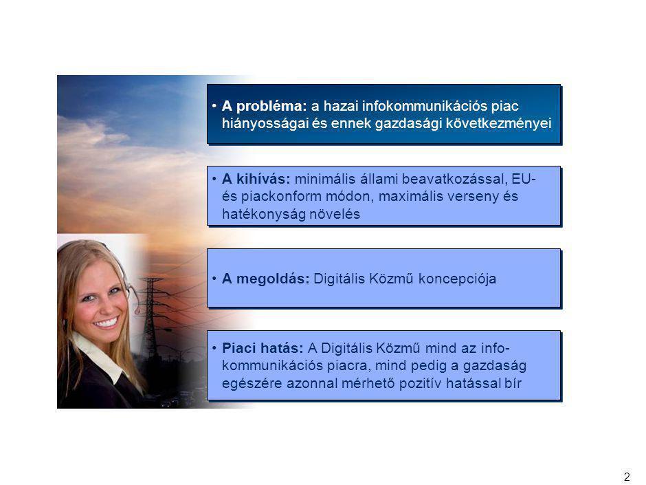 13 AZ EU LEGFŐBB STRATÉGIAI CÉLJAI KÖZÉ TARTOZIK A DIGITÁLIS TÁRSADALOM ELTERJEDÉSÉNEK ELŐSEGÍTÉSE A hazai infokommu- nikációs piac helyzete A magyarországi háztartások 29%-a rendelkezik Internet kapcsolattal az EU átlag 56%-al szemben Az átlag sávszélesség 3 Mbps szemben az európai átlag 7 Mbps-el Az Európai Unióban a termelékenység növekedésének 40%-a az IKT-nek tulajdonítható Célkitűzés: a megfizethető, biztonságos, nagy sávszélességű kommunikációt biztosító egységes európai információs tér létrehozása i 2010 program A 2008-as félidei értékelés Európa jelentős haladást ért el a hálózatokra épülő gazdaság megvalósítása felé, de magasabb sebességre kell kapcsolnia, hogy a hálózatok új generációjára való áttérésben is vezető szerephez jusson Európai Gazda- sági Helyre- állítási Terv Európa ellátása modern infrastruk- túrával a vasútépítéssel vetekedő jelentőségű feladat A tagállamoknak meg kell alkotniuk szélessávú stratégiájukat, melynek célja a hálózatépítés felgyorsítása Cél, hogy 2010-re 100%-os legyen a gyors Internet lefedettség A Bizottság a transz-európai energia- kapcsolatok és a szélessáv elterjedés- éig félretett 5 mrd Euró forrásból 1 mrd Eurót javasol erre a célra A szélessávú infrastruktúra fejlesztésének koncepciója egybevág az EU világgazdasági helyzetből adódó célkitűzéseivel; átmeneti és tartós munkahelyteremtő hatása van és támogatja az ÚMFT programjainak célját és azok megvalósulását
