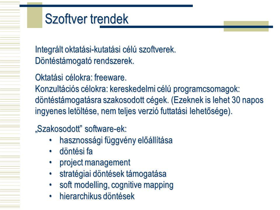 Integrált oktatási-kutatási célú szoftverek. Döntéstámogató rendszerek.
