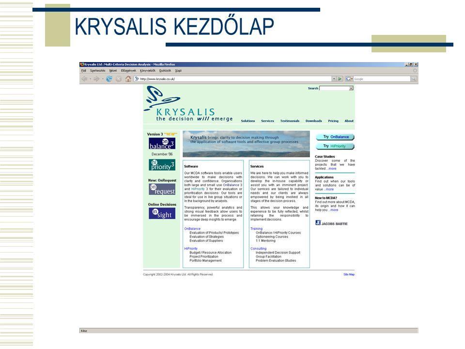 KRYSALIS KEZDŐLAP