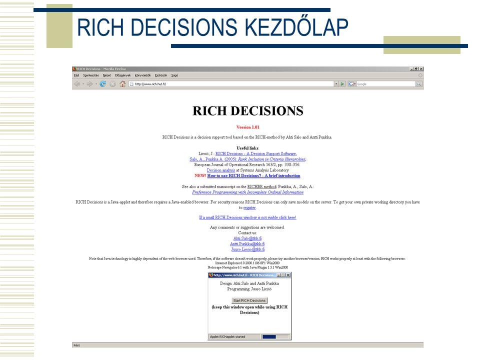 RICH DECISIONS KEZDŐLAP