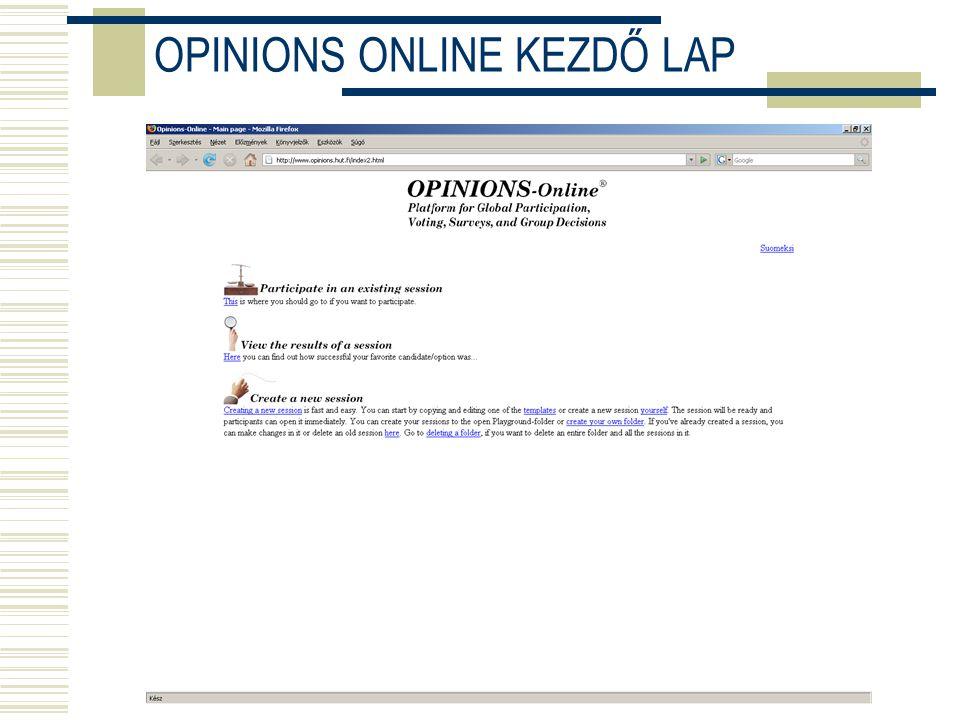 OPINIONS ONLINE KEZDŐ LAP
